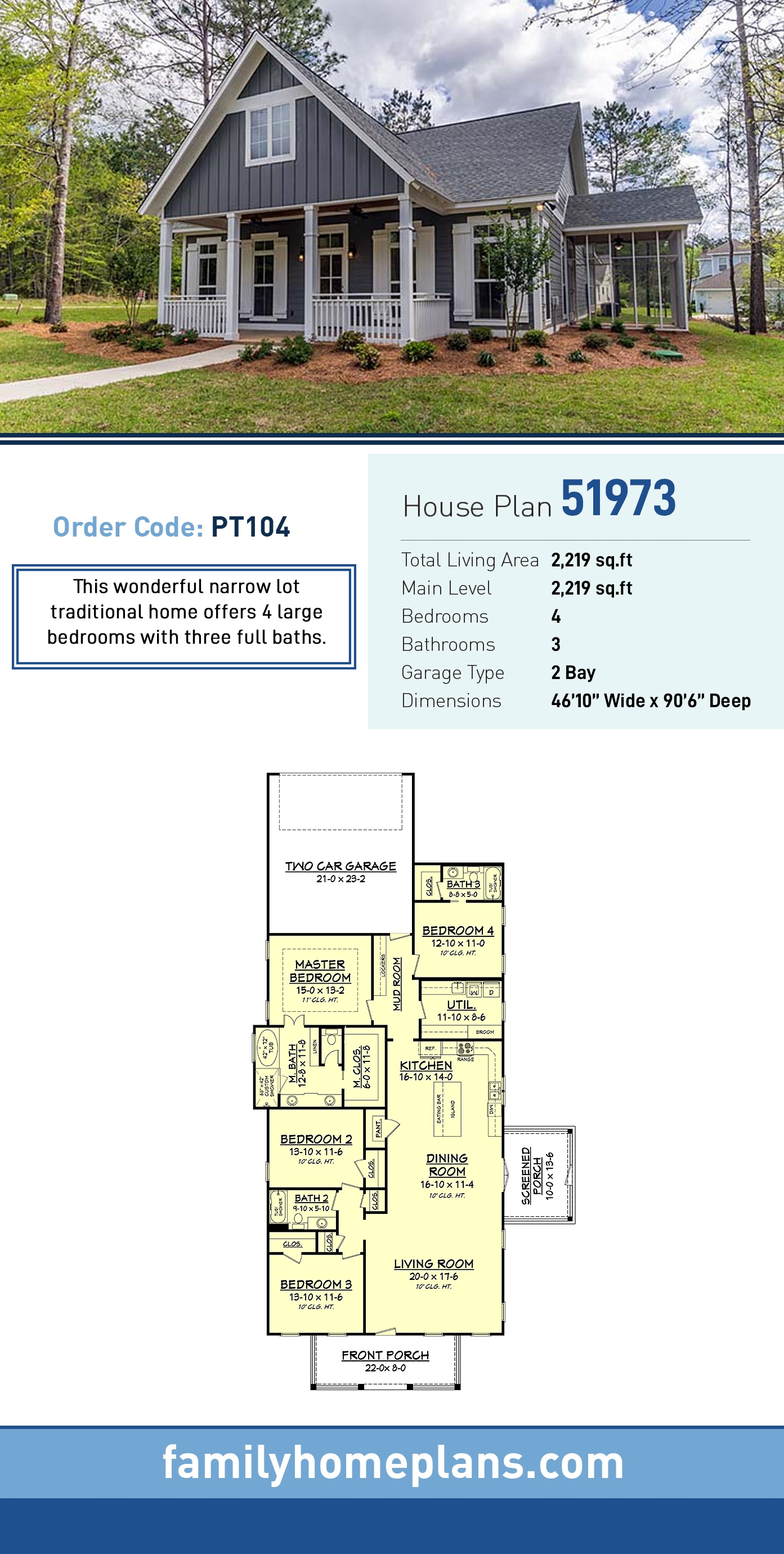Country , Ranch , Traditional House Plan 51973 with 4 Beds, 3 Baths, 2 Car Garage
