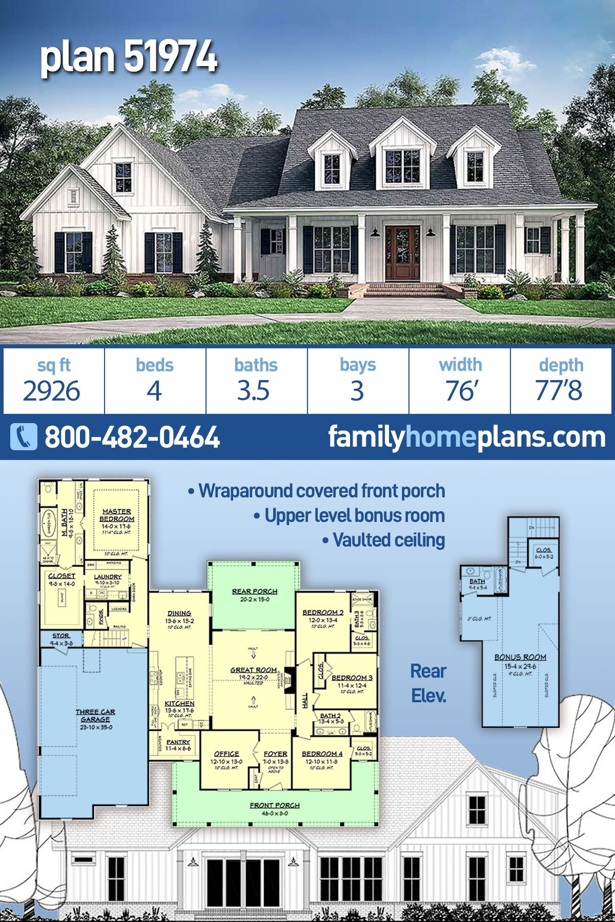 Country, Modern Farmhouse, Southern House Plan 51974 with 4 Beds , 4 Baths , 3 Car Garage