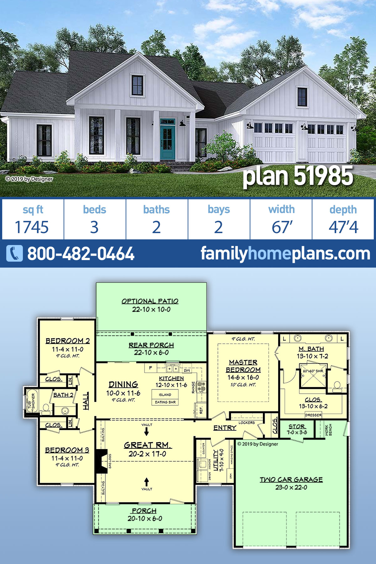 Country, Craftsman, Modern Farmhouse, Southern House Plan 51985 with 3 Beds , 2 Baths , 2 Car Garage
