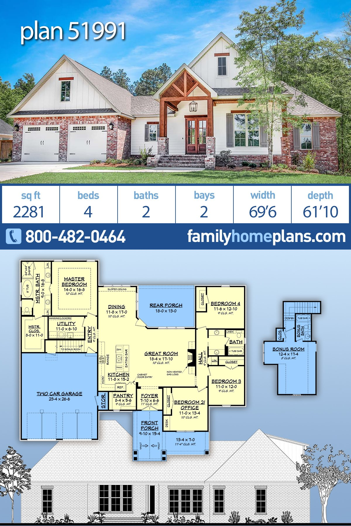 Country, Farmhouse, Traditional House Plan 51991 with 4 Beds, 2 Baths, 2 Car Garage