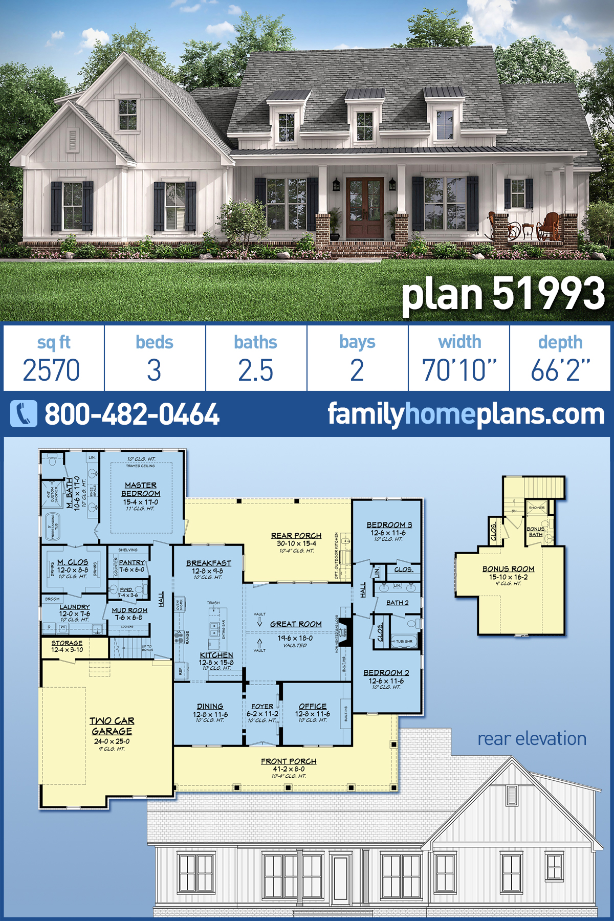 Country, Craftsman, Traditional House Plan 51993 with 3 Beds, 3 Baths, 2 Car Garage