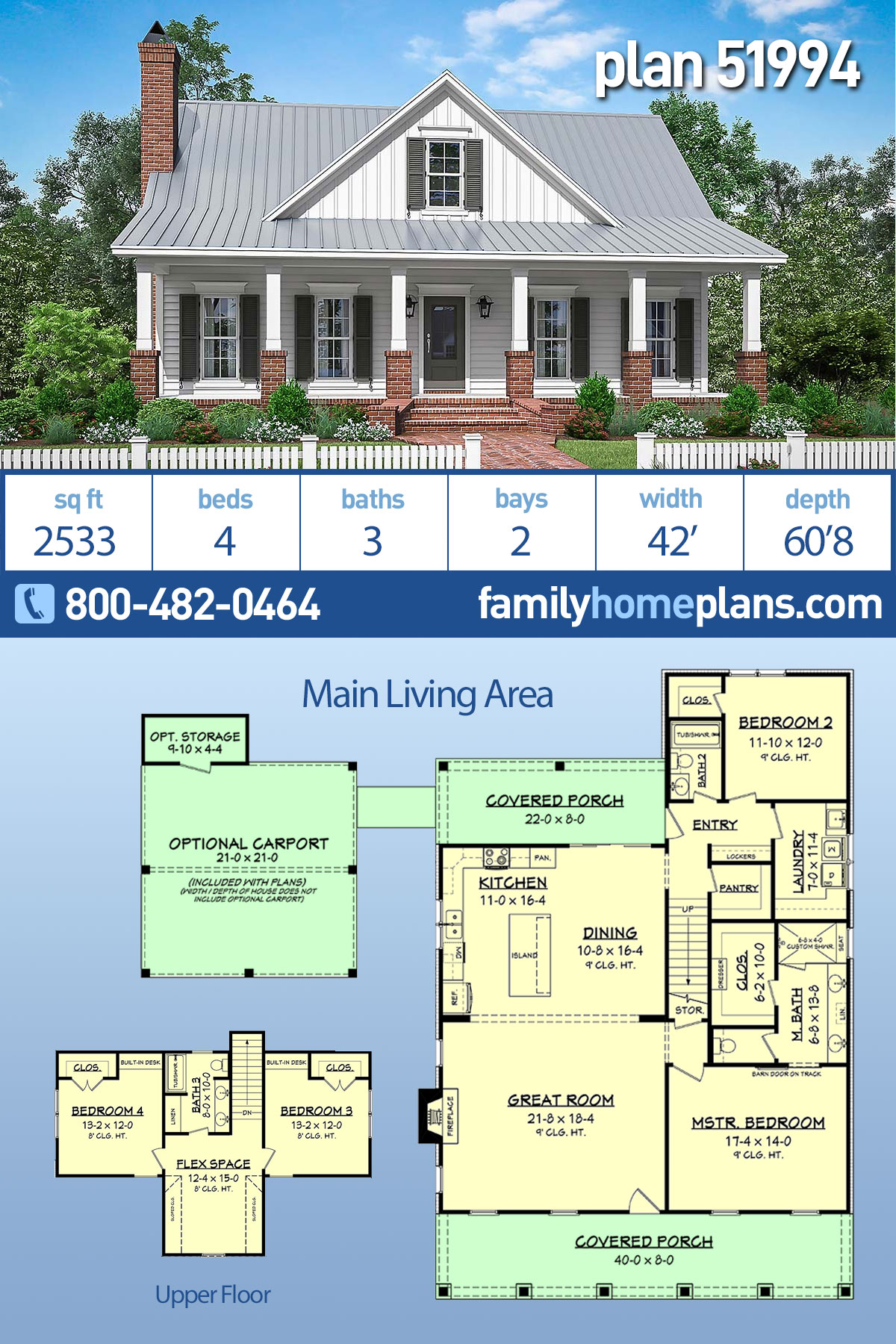 Country, Farmhouse, Traditional House Plan 51994 with 4 Beds, 3 Baths, 2 Car Garage