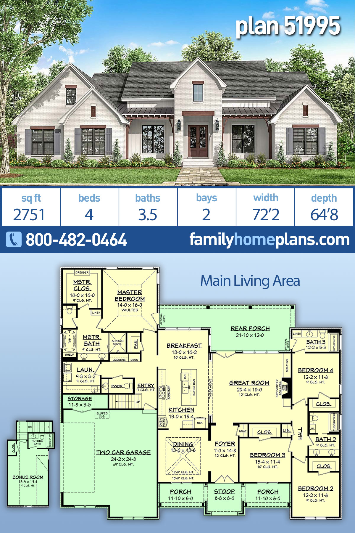 Country , Farmhouse , Modern , Traditional House Plan 51995 with 4 Beds, 4 Baths, 2 Car Garage
