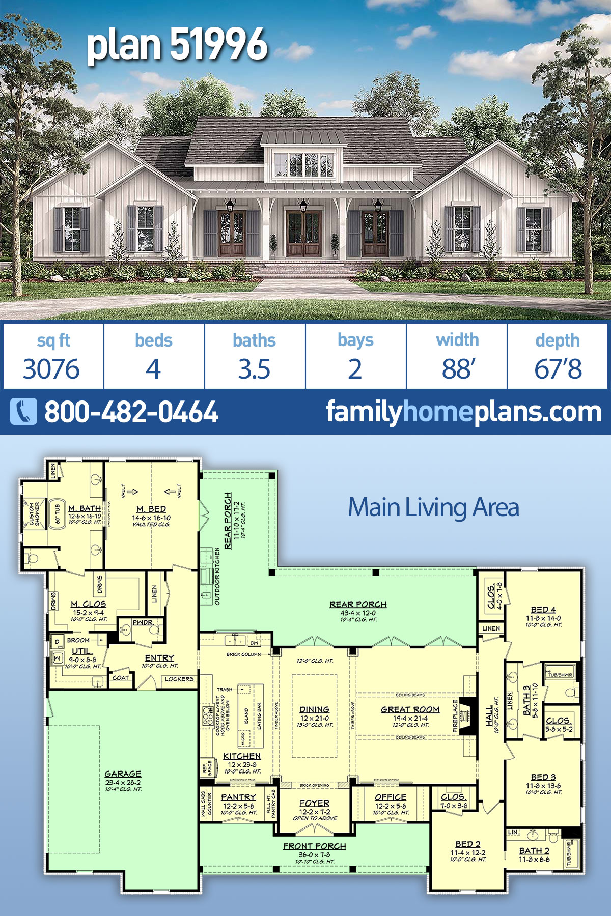 Country, Craftsman, Farmhouse, Traditional House Plan 51996 with 4 Beds, 4 Baths, 2 Car Garage