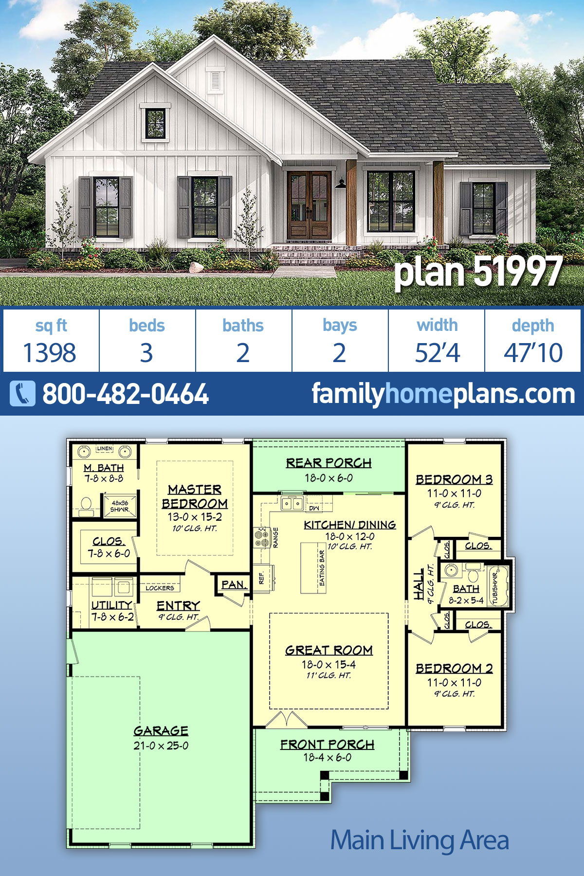 Country, Farmhouse, Southern, Traditional House Plan 51997 with 3 Beds , 2 Baths , 2 Car Garage