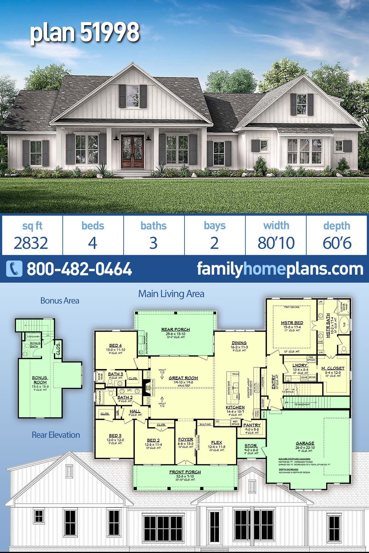 Country , Farmhouse , Southern House Plan 51998 with 4 Beds, 3 Baths, 2 Car Garage