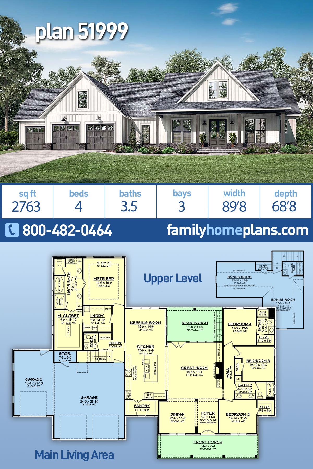 Country, Farmhouse, Southern House Plan 51999 with 4 Beds, 4 Baths, 3 Car Garage