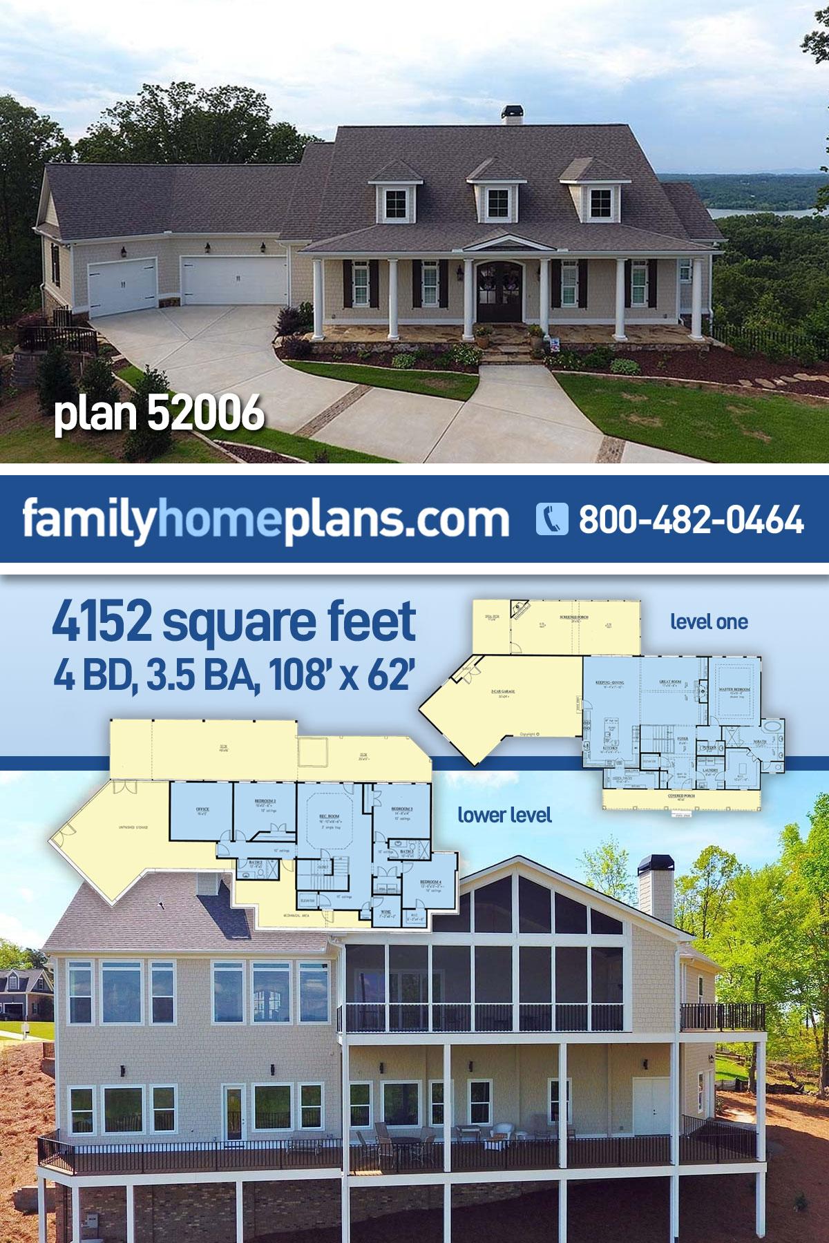 Craftsman, Farmhouse House Plan 52006 with 4 Beds, 4 Baths, 3 Car Garage