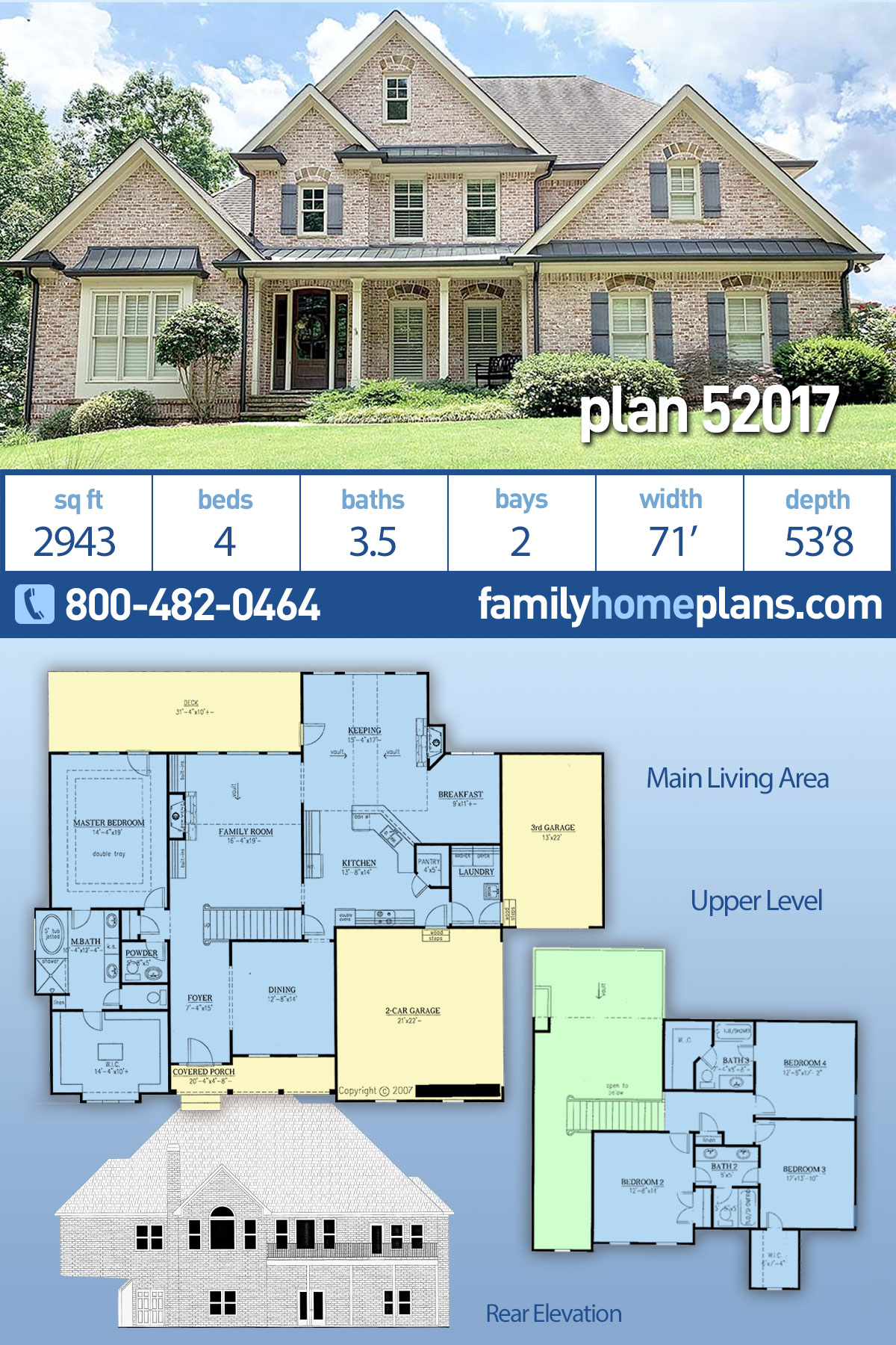 Traditional House Plan 52017 with 4 Beds , 4 Baths , 2 Car Garage