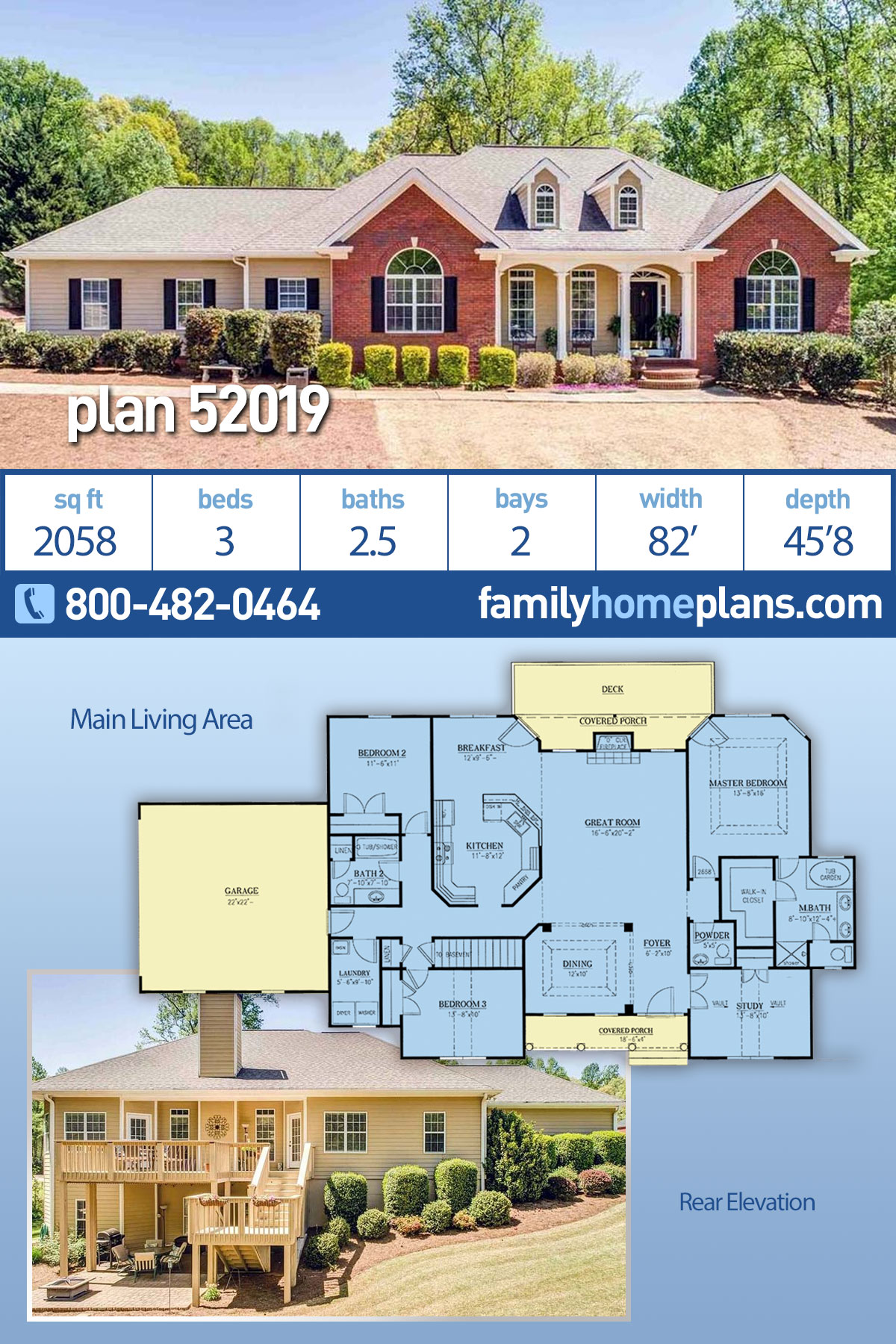 Country, Traditional House Plan 52019 with 3 Beds, 3 Baths, 2 Car Garage