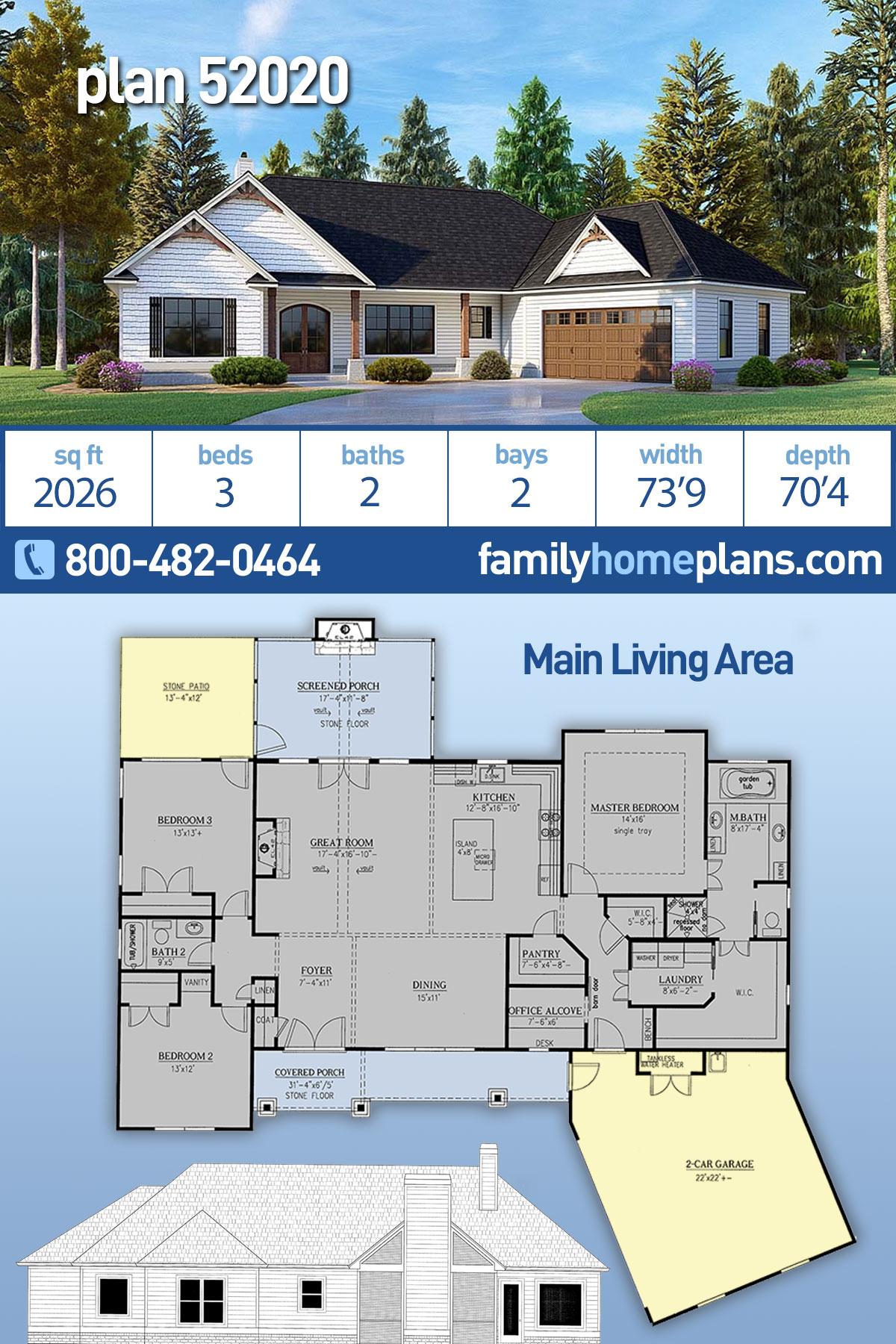 Craftsman House Plan 52020 with 3 Beds, 2 Baths, 2 Car Garage