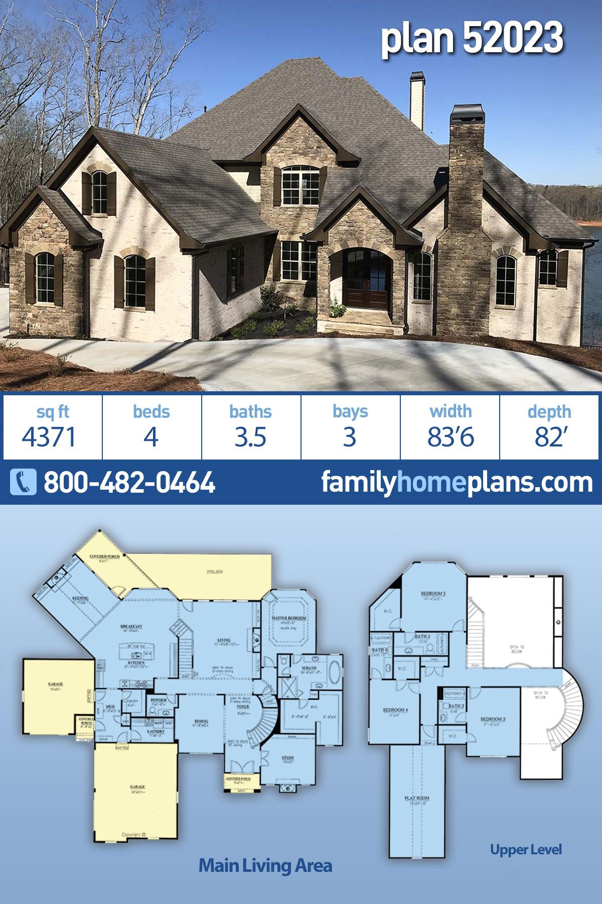 European House Plan 52023 with 4 Beds , 5 Baths , 3 Car Garage