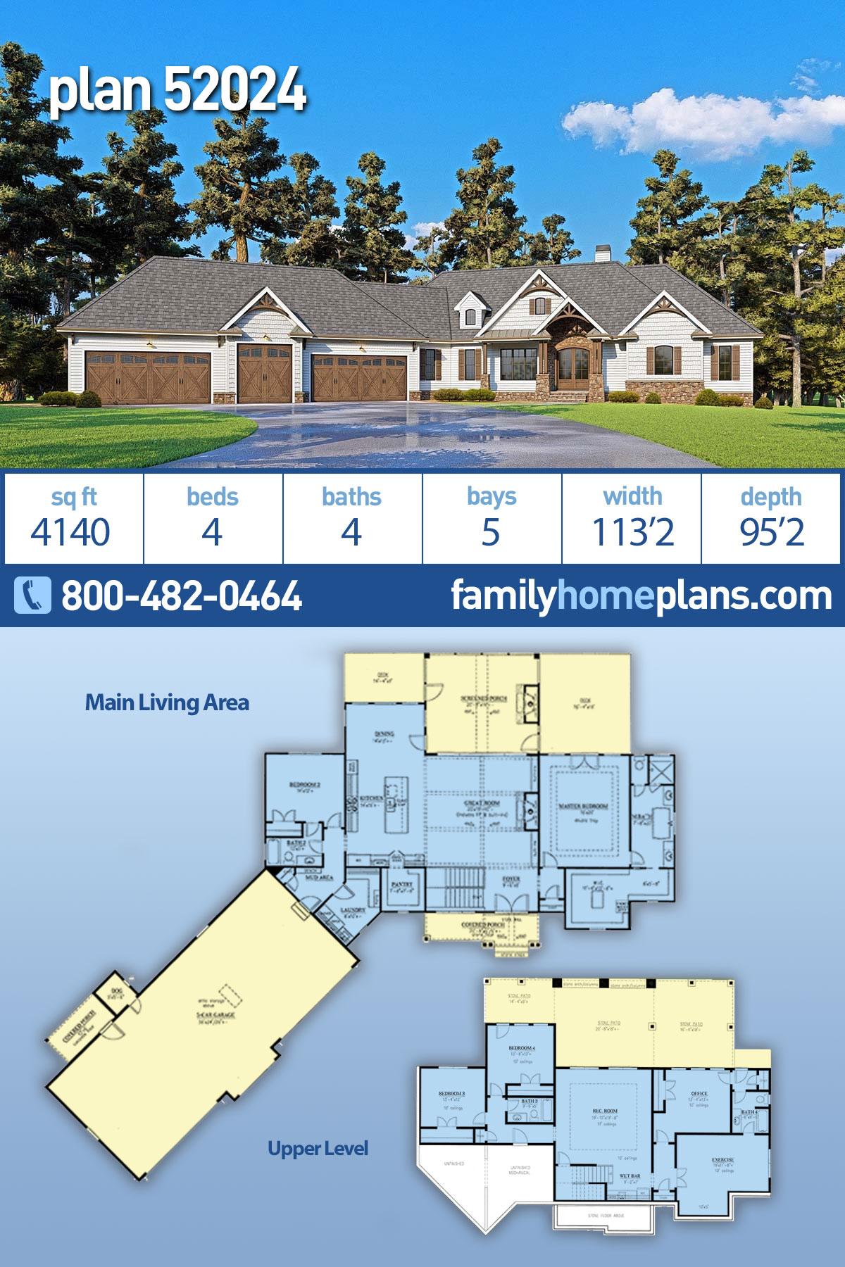 Craftsman, Farmhouse, Southern House Plan 52024 with 4 Beds, 4 Baths, 5 Car Garage