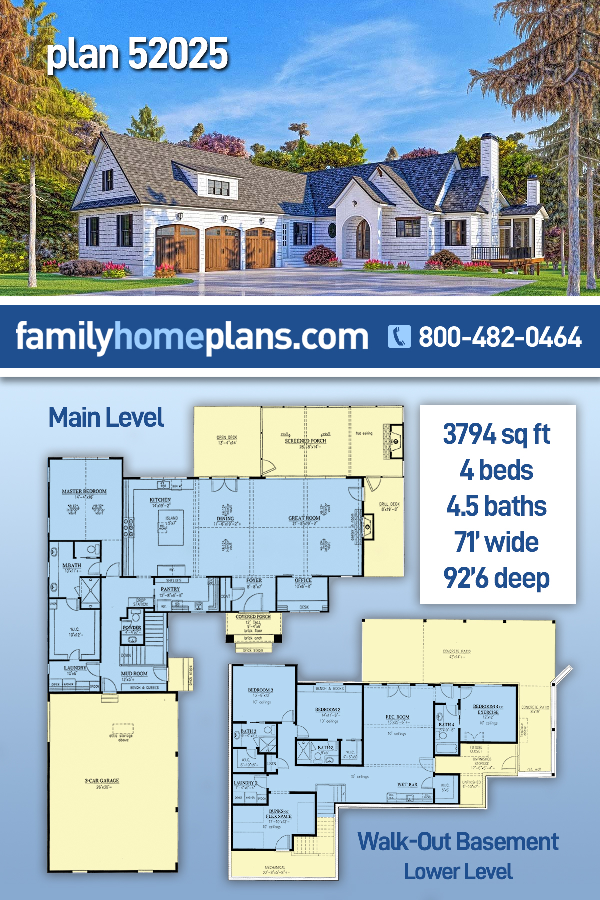 Modern Farmhouse, Modern House Plan 52025 with 4 Beds , 5 Baths , 3 Car Garage