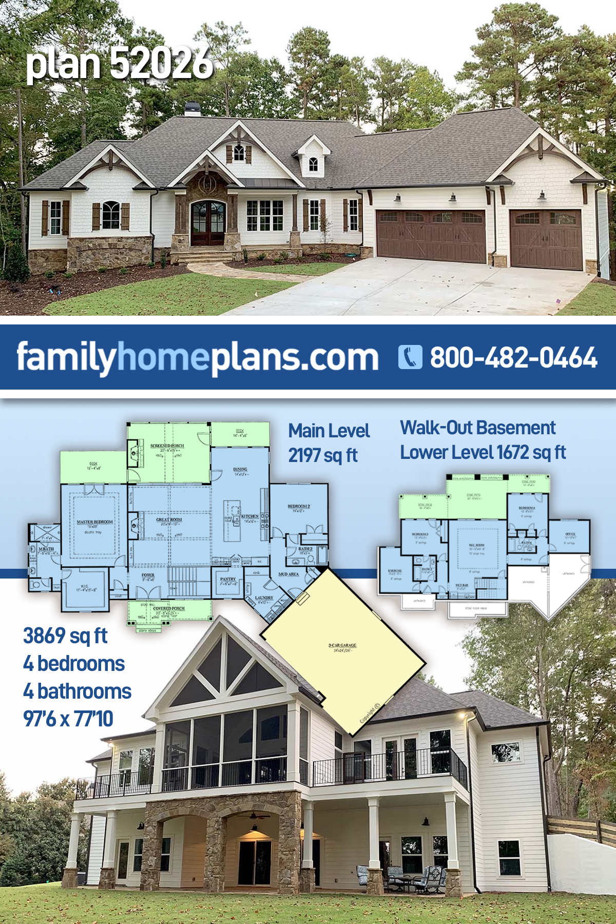 Cottage, Craftsman House Plan 52026 with 4 Beds, 4 Baths, 3 Car Garage