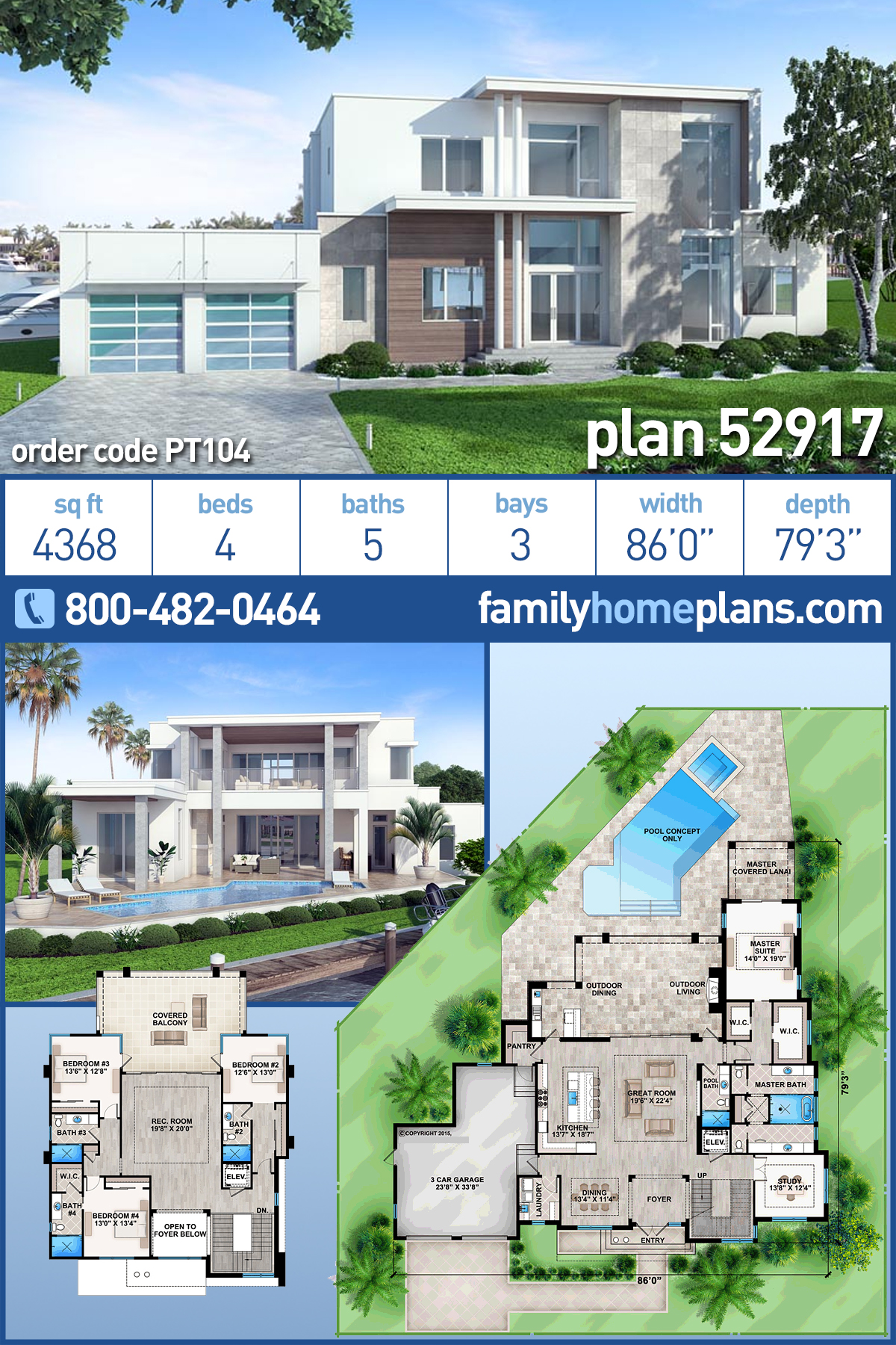 Contemporary, Modern House Plan 52917 with 4 Beds, 5 Baths, 3 Car Garage