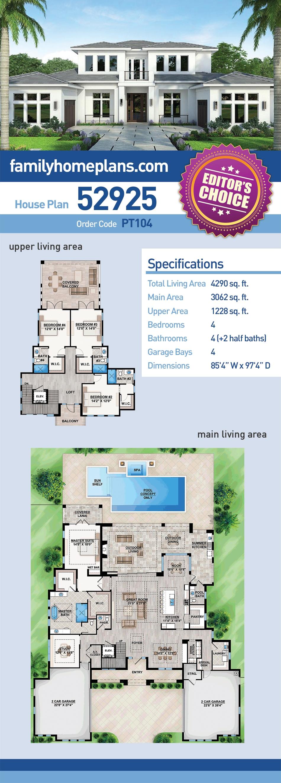 Coastal, Contemporary, Florida, Mediterranean House Plan 52925 with 4 Beds, 6 Baths, 4 Car Garage