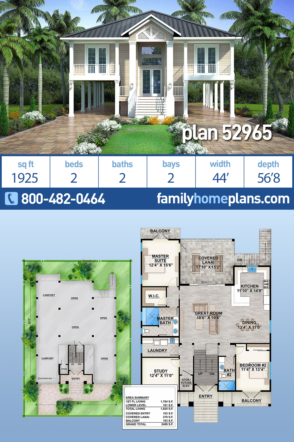 Coastal, Florida, Southern House Plan 52965 with 2 Beds, 2 Baths, 2 Car Garage