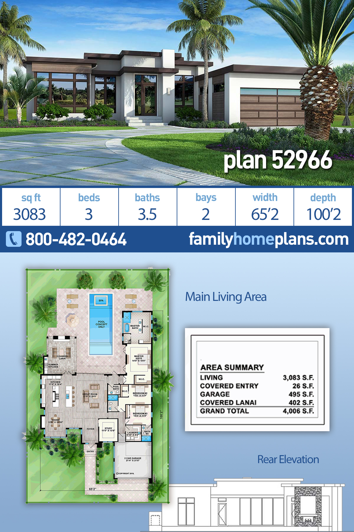 Contemporary, Florida, Modern, Southwest House Plan 52966 with 3 Beds, 4 Baths, 2 Car Garage