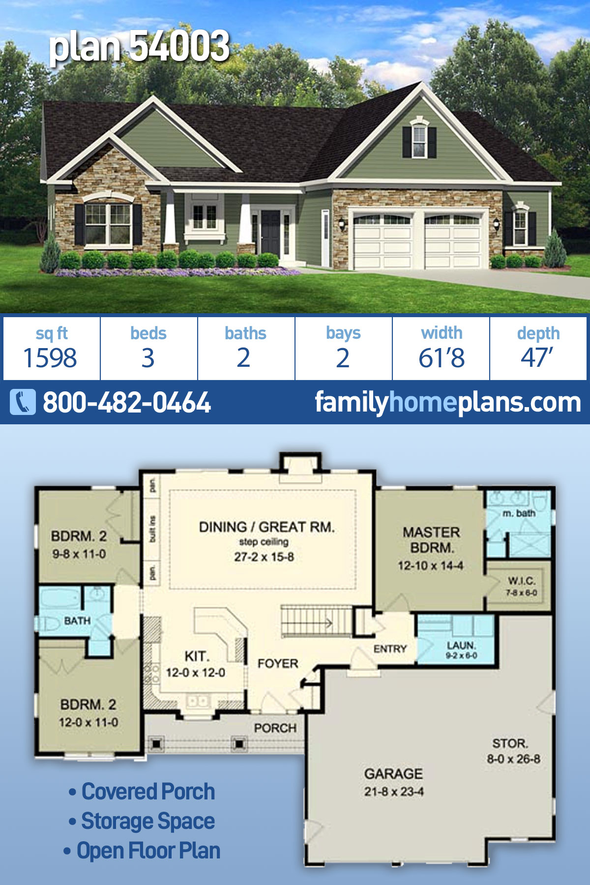 Ranch House Plan 54003 with 3 Beds, 2 Baths, 2 Car Garage
