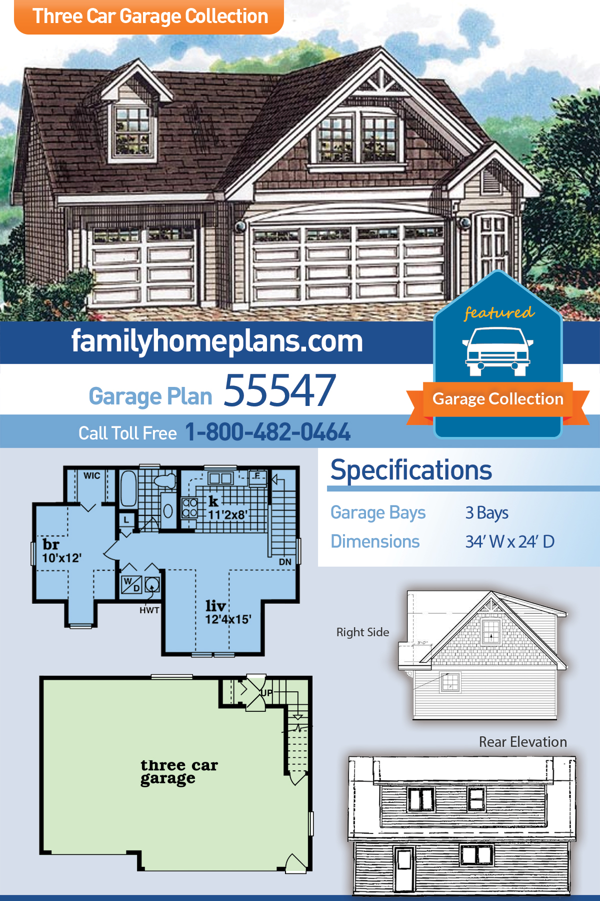 Cape Cod 3 Car Garage Apartment Plan 55547 with 1 Beds, 1 Baths