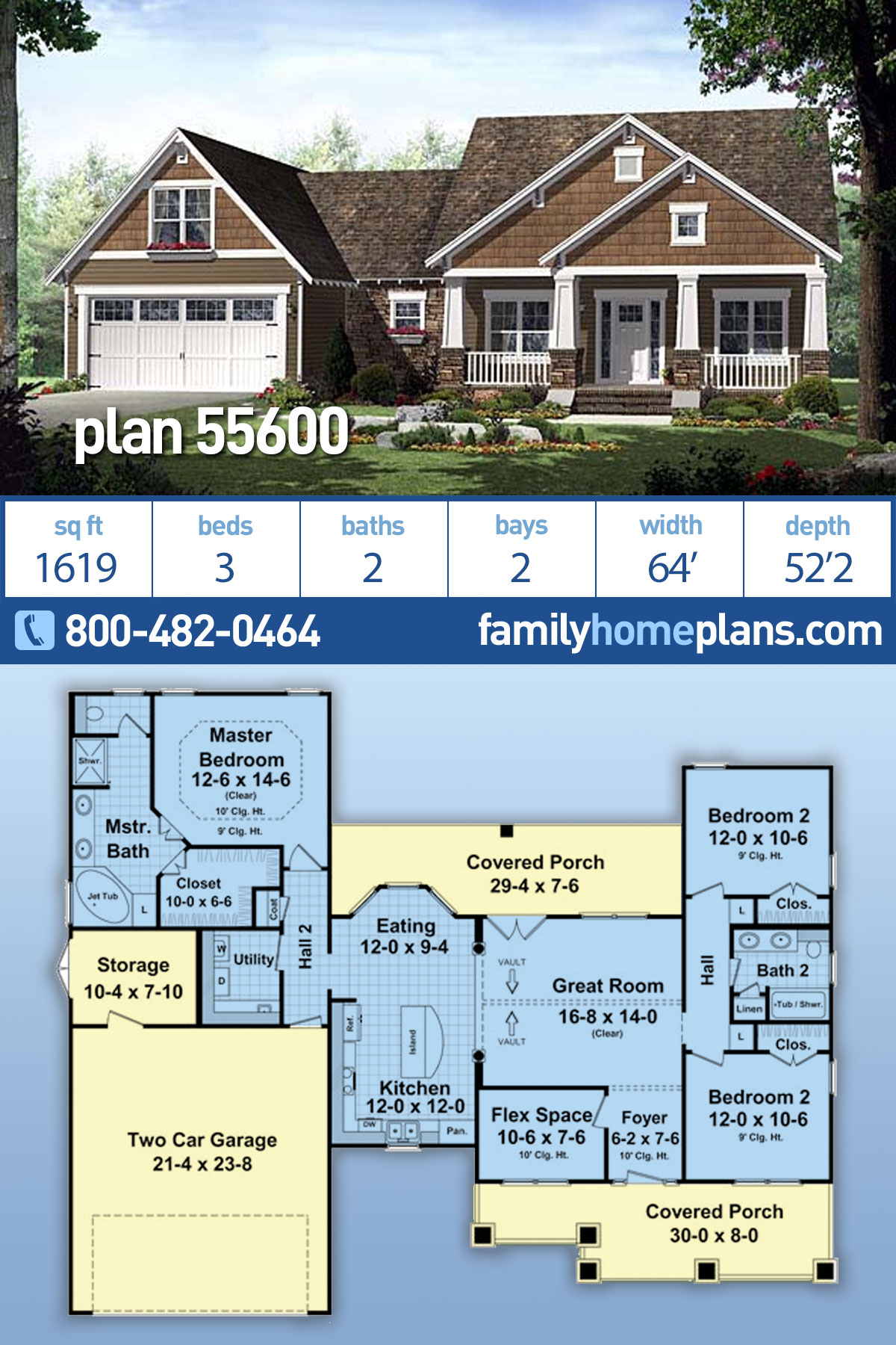Cottage, Country, Craftsman, Southern House Plan 55600 with 3 Beds , 2 Baths , 2 Car Garage