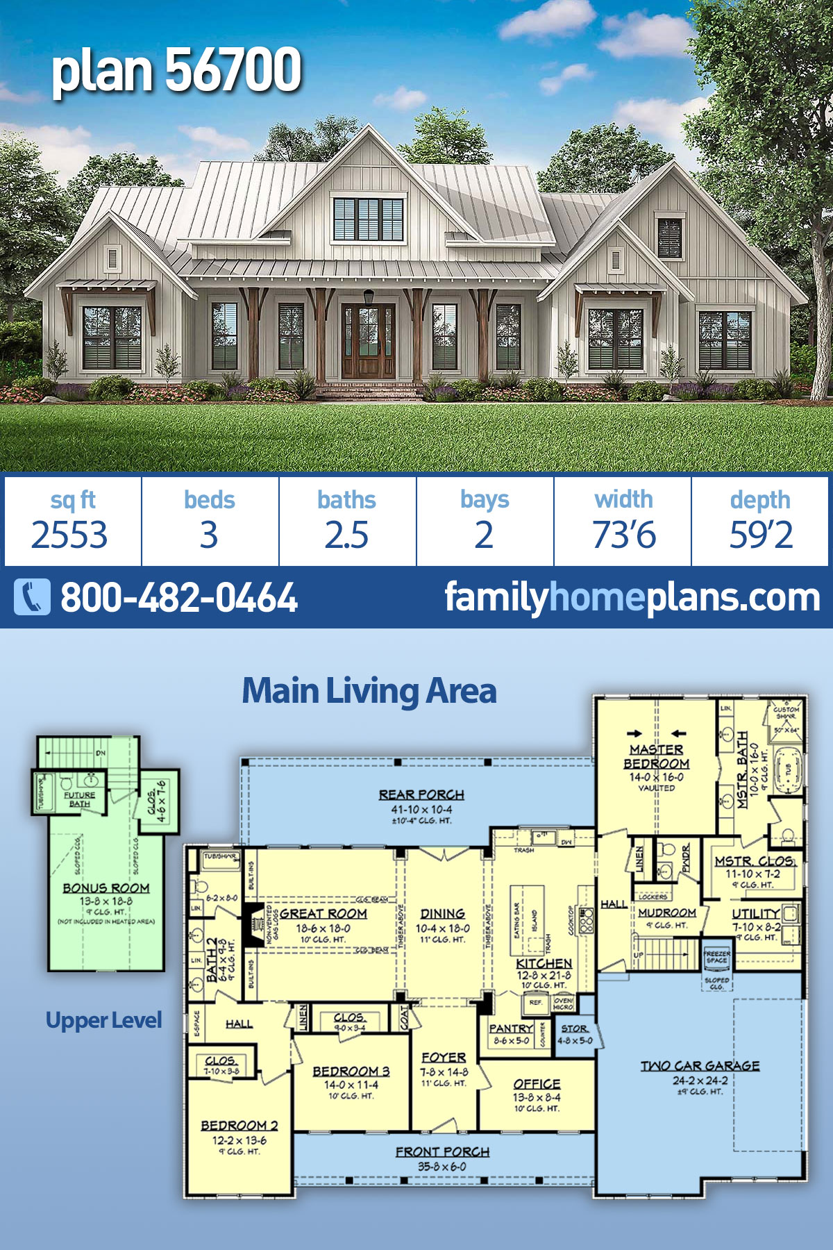Country , Craftsman , Modern Farmhouse House Plan 56700 with 3 Beds, 3 Baths, 2 Car Garage