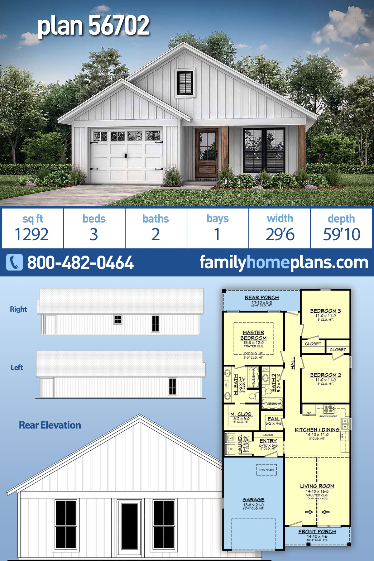 Country, Farmhouse, Modern, Traditional House Plan 56702 with 3 Beds, 2 Baths, 1 Car Garage