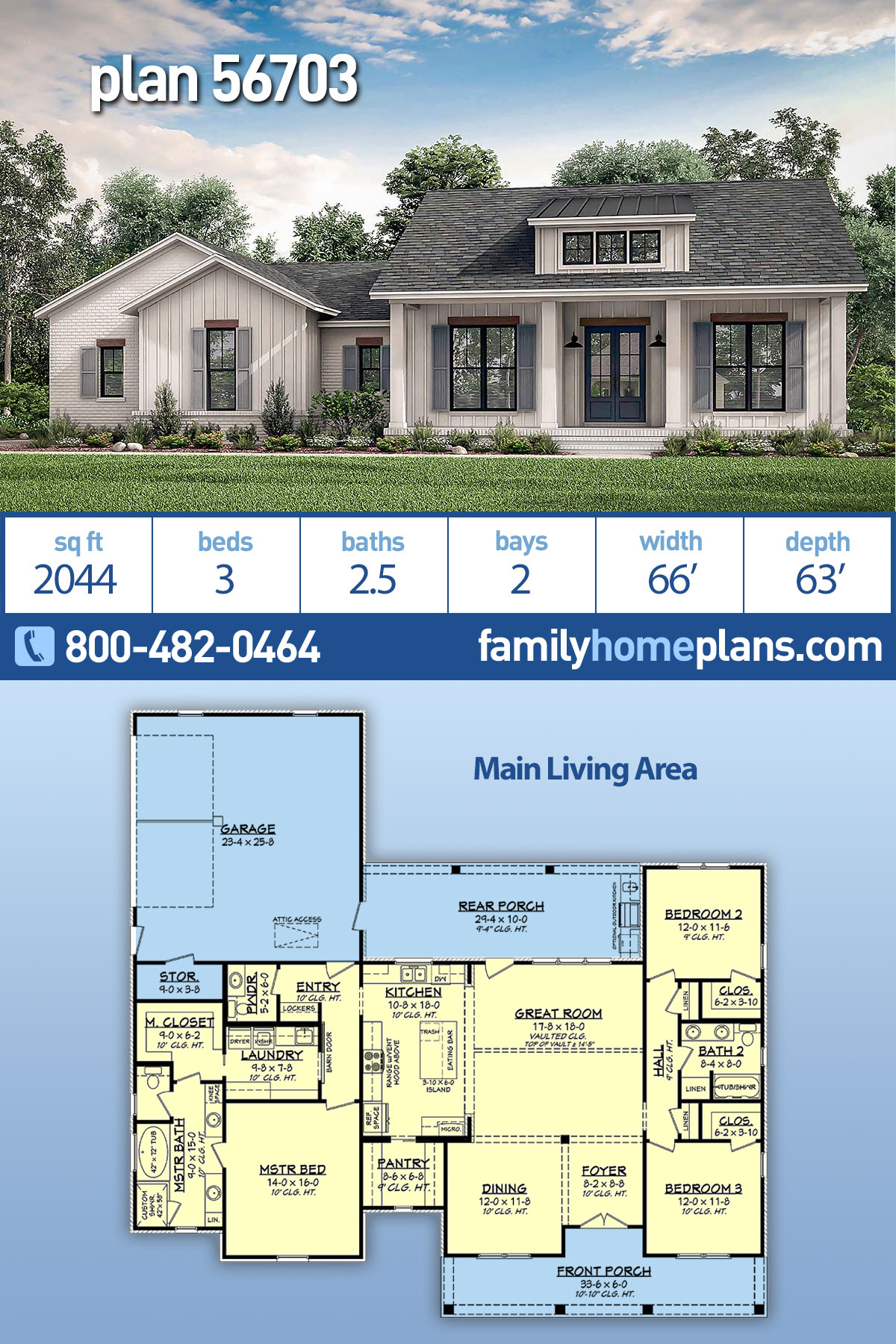 Country, Craftsman, Modern Farmhouse, Traditional House Plan 56703 with 3 Beds , 3 Baths , 2 Car Garage