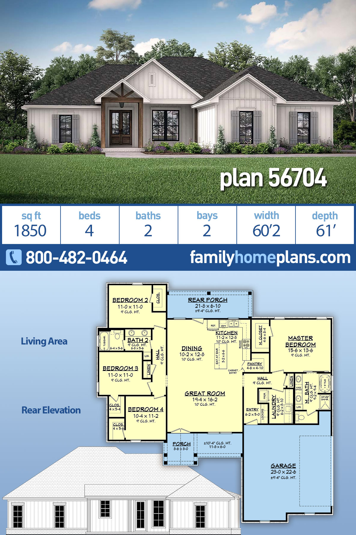 Country, Craftsman, Farmhouse House Plan 56704 with 4 Beds, 2 Baths, 2 Car Garage