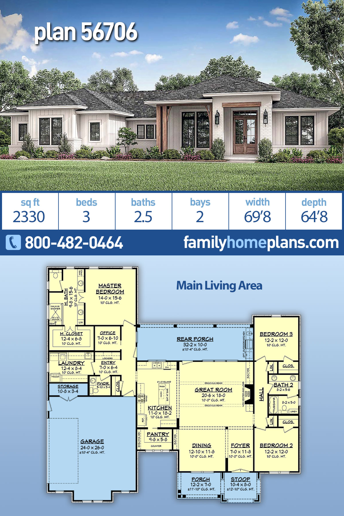 Country , Farmhouse , Ranch House Plan 56706 with 3 Beds, 3 Baths, 2 Car Garage
