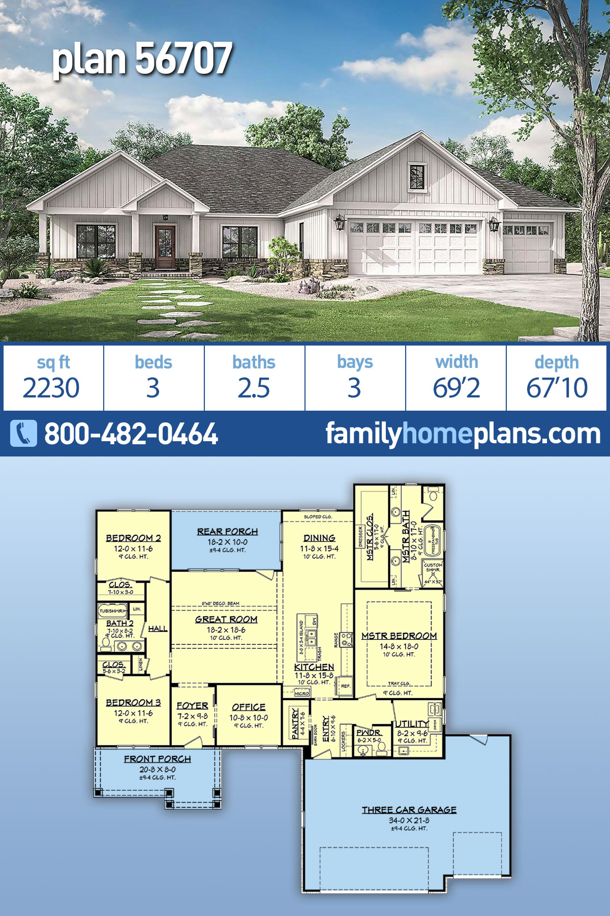 Craftsman, Modern Farmhouse, Ranch House Plan 56707 with 3 Beds , 3 Baths , 3 Car Garage