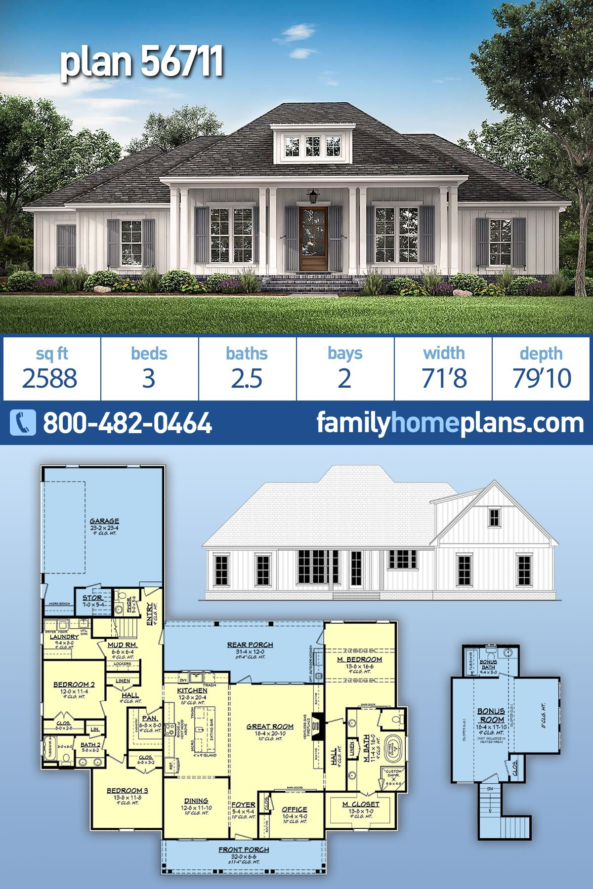 Country, Craftsman, Farmhouse, Southern, Traditional House Plan 56711 with 3 Beds, 3 Baths, 2 Car Garage