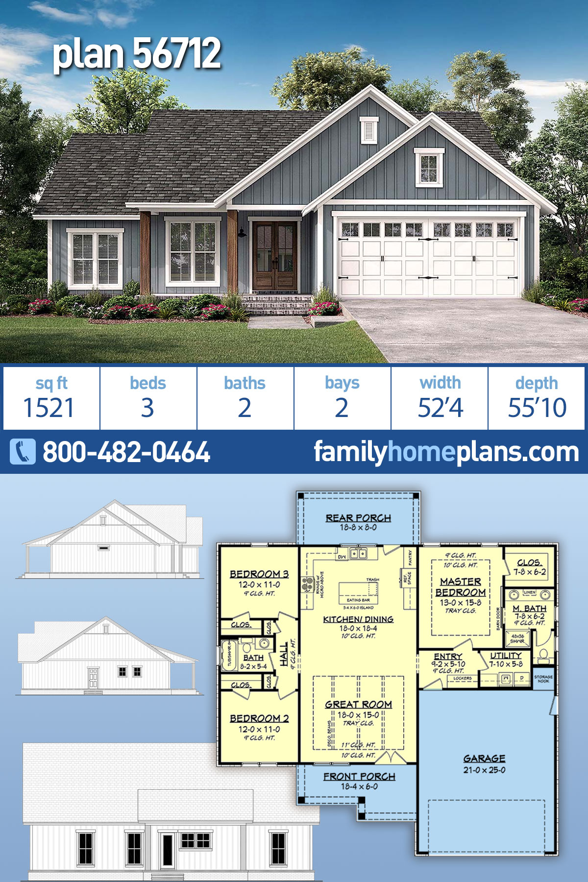 Country, Modern Farmhouse, Southern, Traditional House Plan 56712 with 3 Beds, 2 Baths, 2 Car Garage