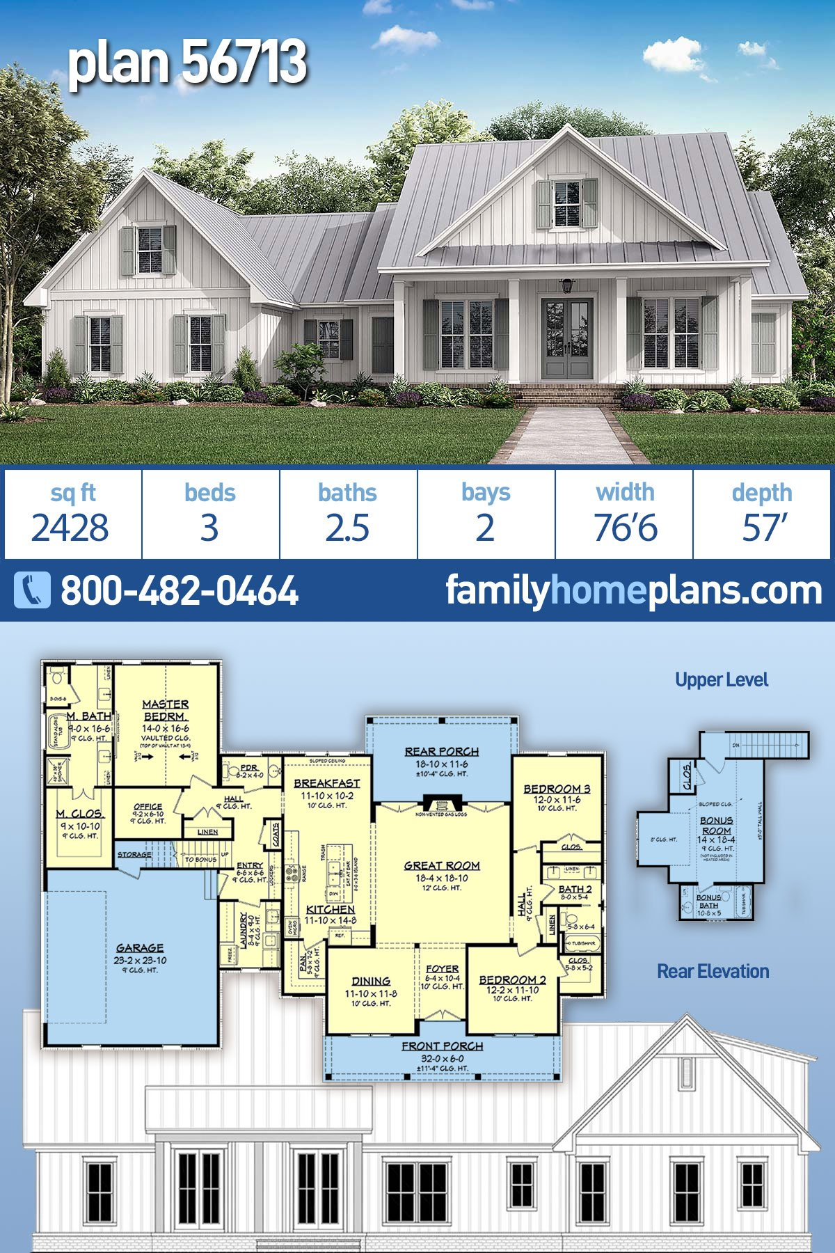 Country, Craftsman, Modern Farmhouse, Southern, Traditional House Plan 56713 with 3 Beds , 3 Baths , 2 Car Garage