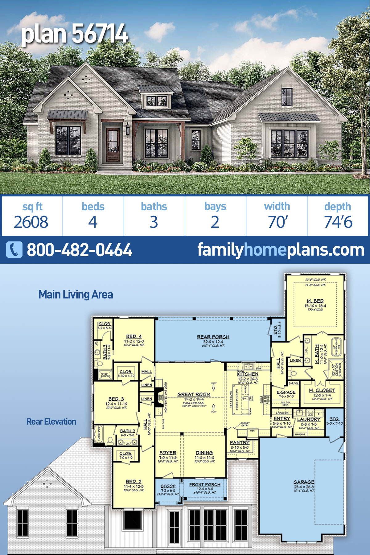 Contemporary, Country, Craftsman, Farmhouse, Southern, Traditional House Plan 56714 with 4 Beds, 3 Baths, 2 Car Garage