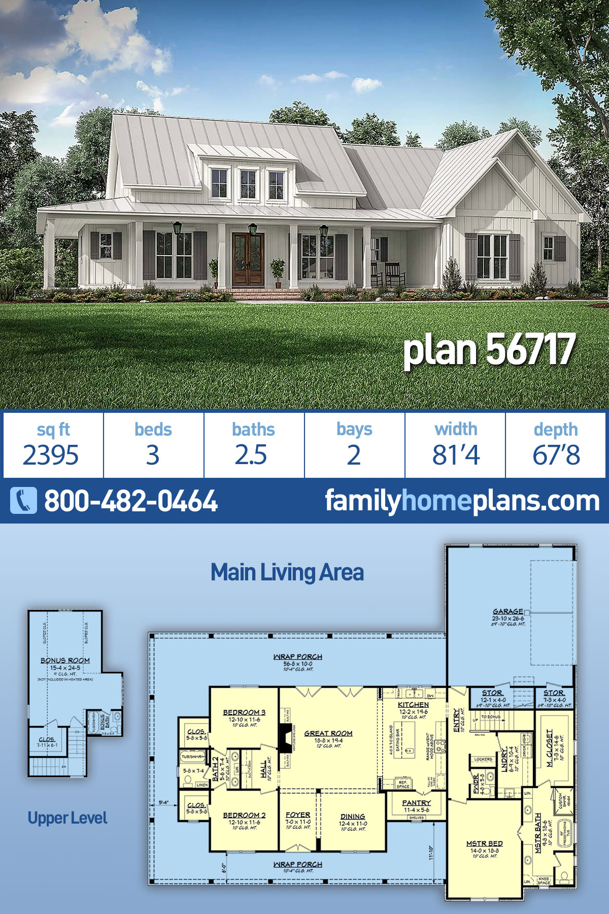 Country, Craftsman, Modern Farmhouse House Plan 56717 with 3 Beds , 3 Baths , 2 Car Garage