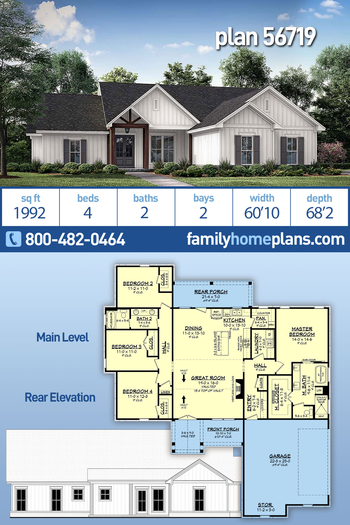Country, Farmhouse, One-Story House Plan 56719 with 4 Beds, 2 Baths, 2 Car Garage