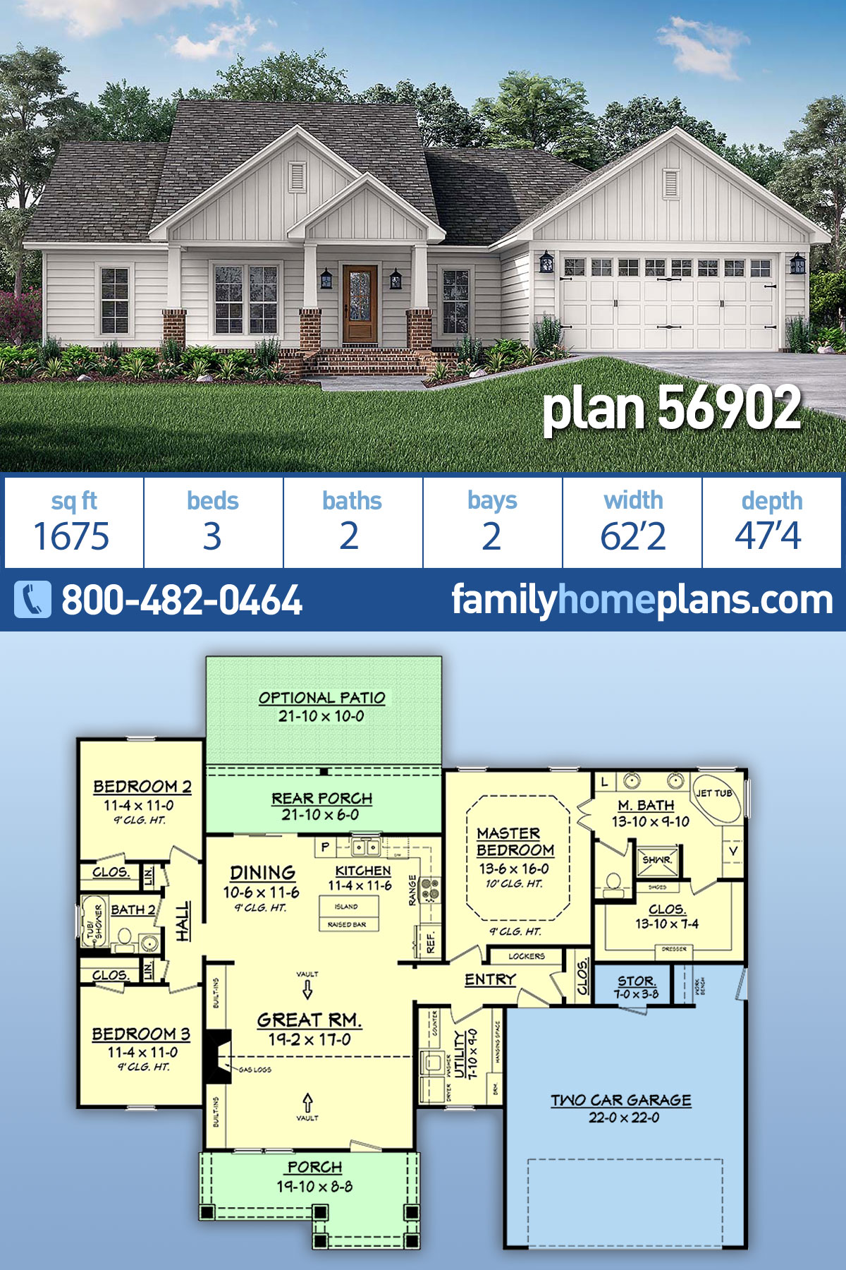 Cottage, Country, Craftsman, Traditional House Plan 56902 with 3 Beds, 2 Baths, 2 Car Garage