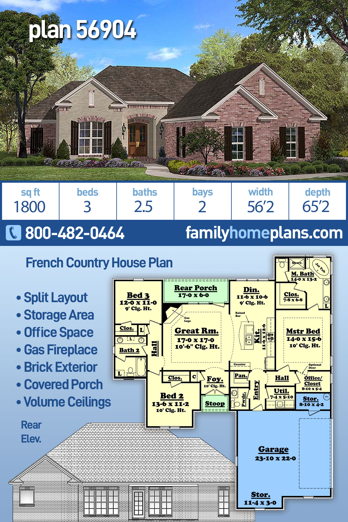 Country, French Country House Plan 56904 with 3 Beds, 3 Baths, 2 Car Garage