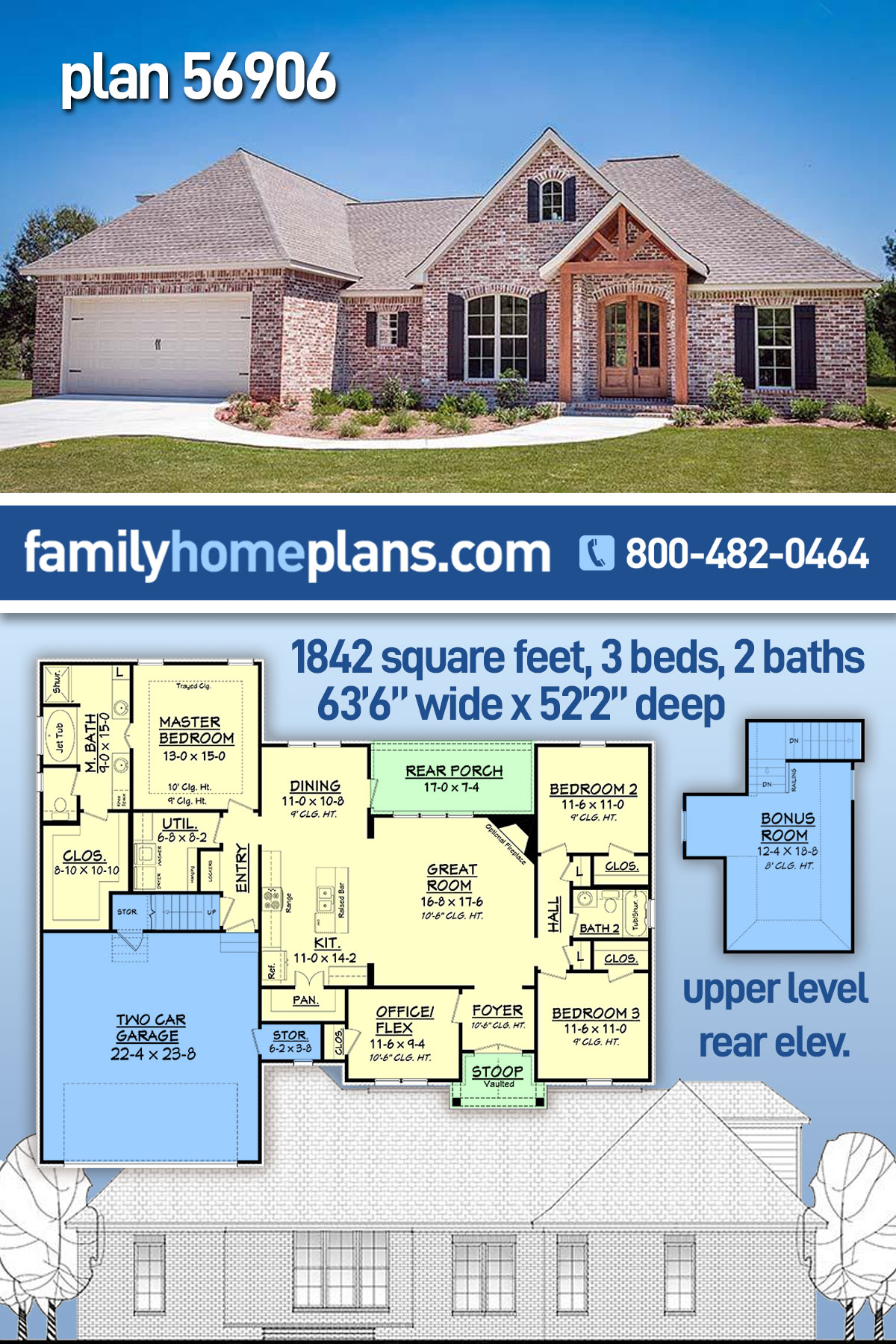 French Country, Traditional House Plan 56906 with 3 Beds, 2 Baths, 2 Car Garage