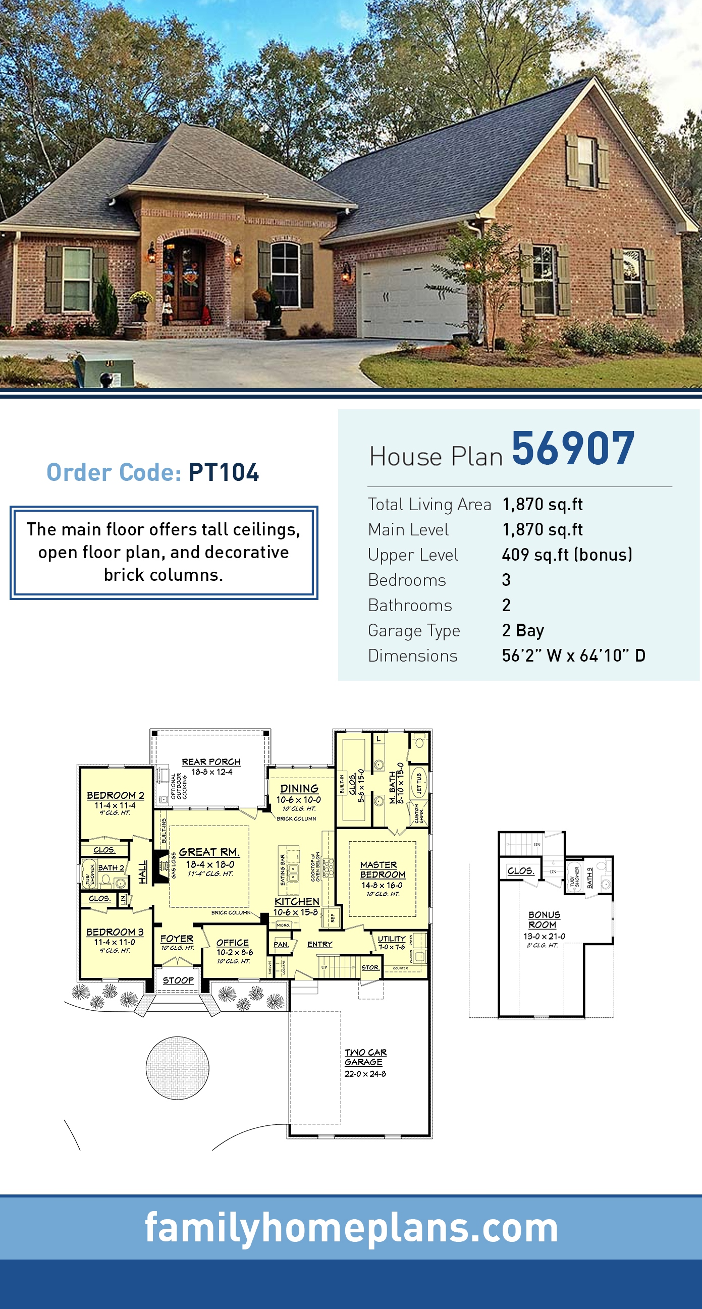 Country, French Country, Southern House Plan 56907 with 3 Beds, 2 Baths, 2 Car Garage