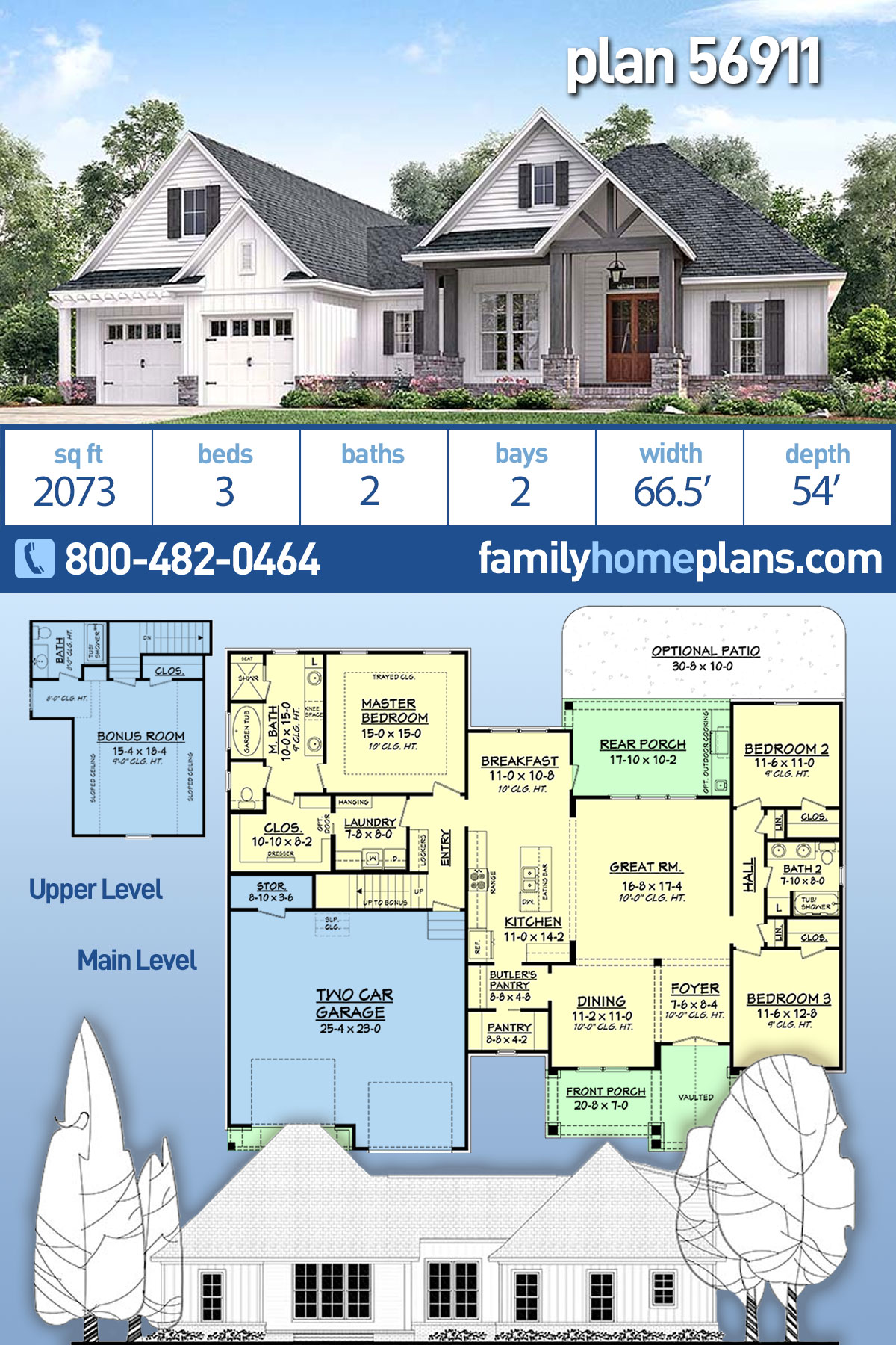 Country, Craftsman, Southern, Traditional House Plan 56911 with 3 Beds , 2 Baths , 2 Car Garage