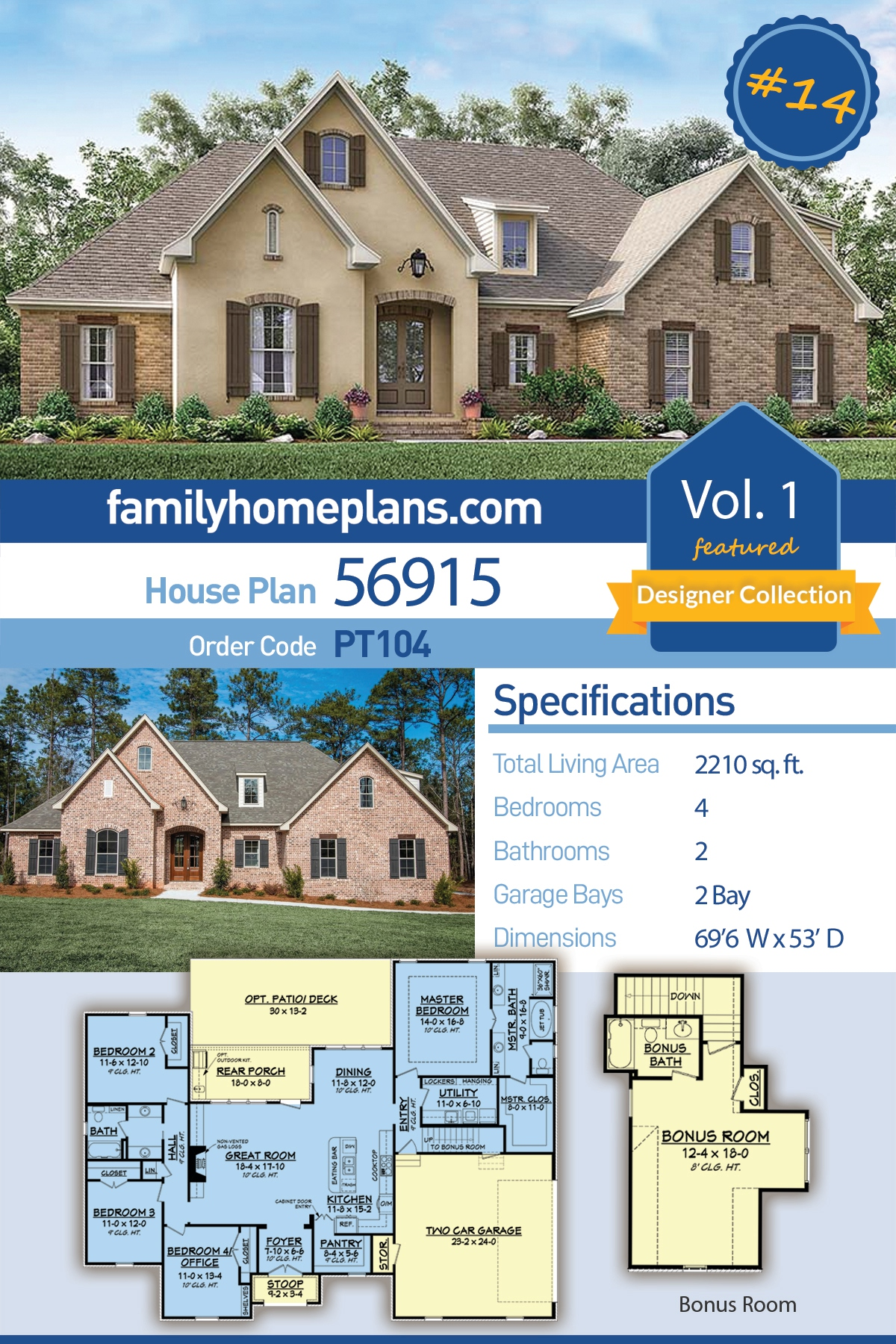 Country, French Country House Plan 56915 with 4 Beds, 2 Baths, 2 Car Garage