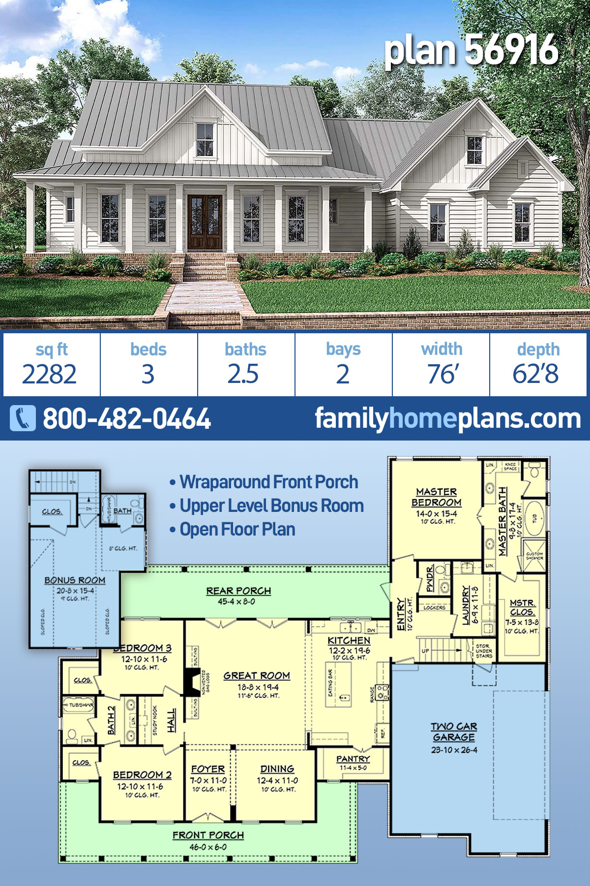 Country, Farmhouse, Southern, Traditional House Plan 56916 with 3 Beds, 3 Baths, 2 Car Garage