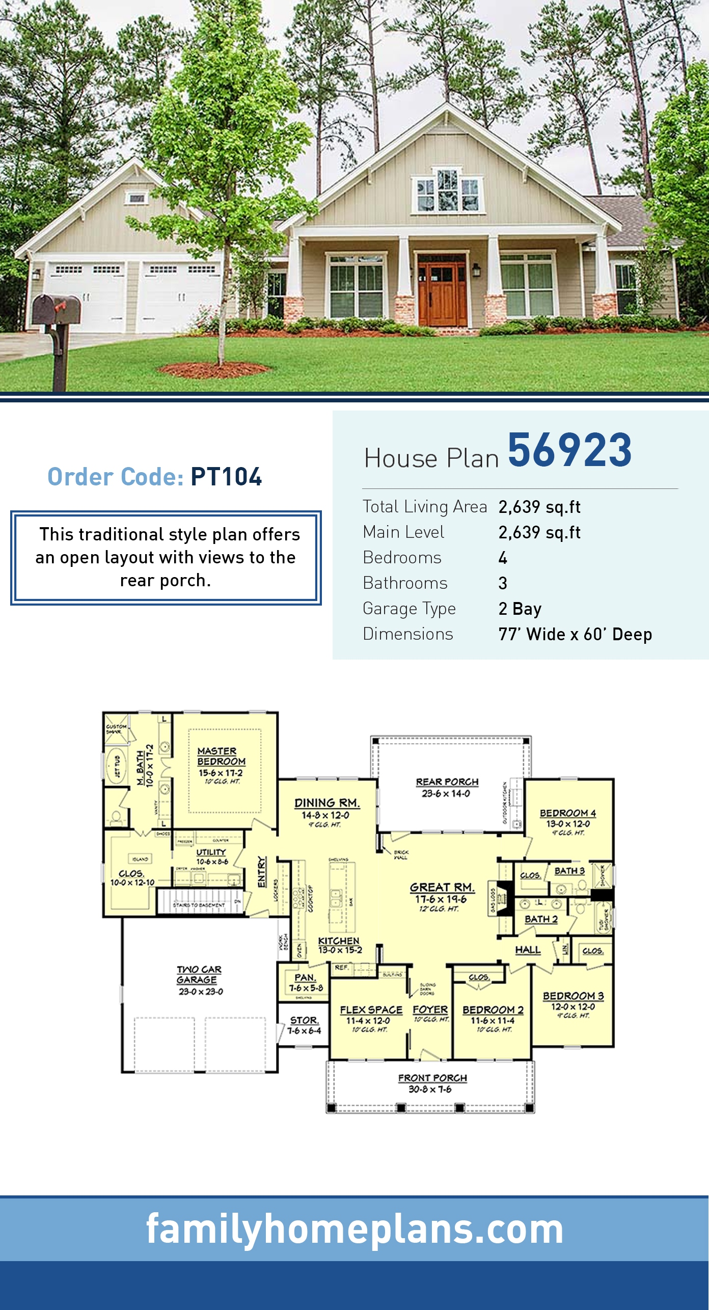 Country, Ranch, Traditional House Plan 56923 with 4 Beds, 3 Baths, 2 Car Garage