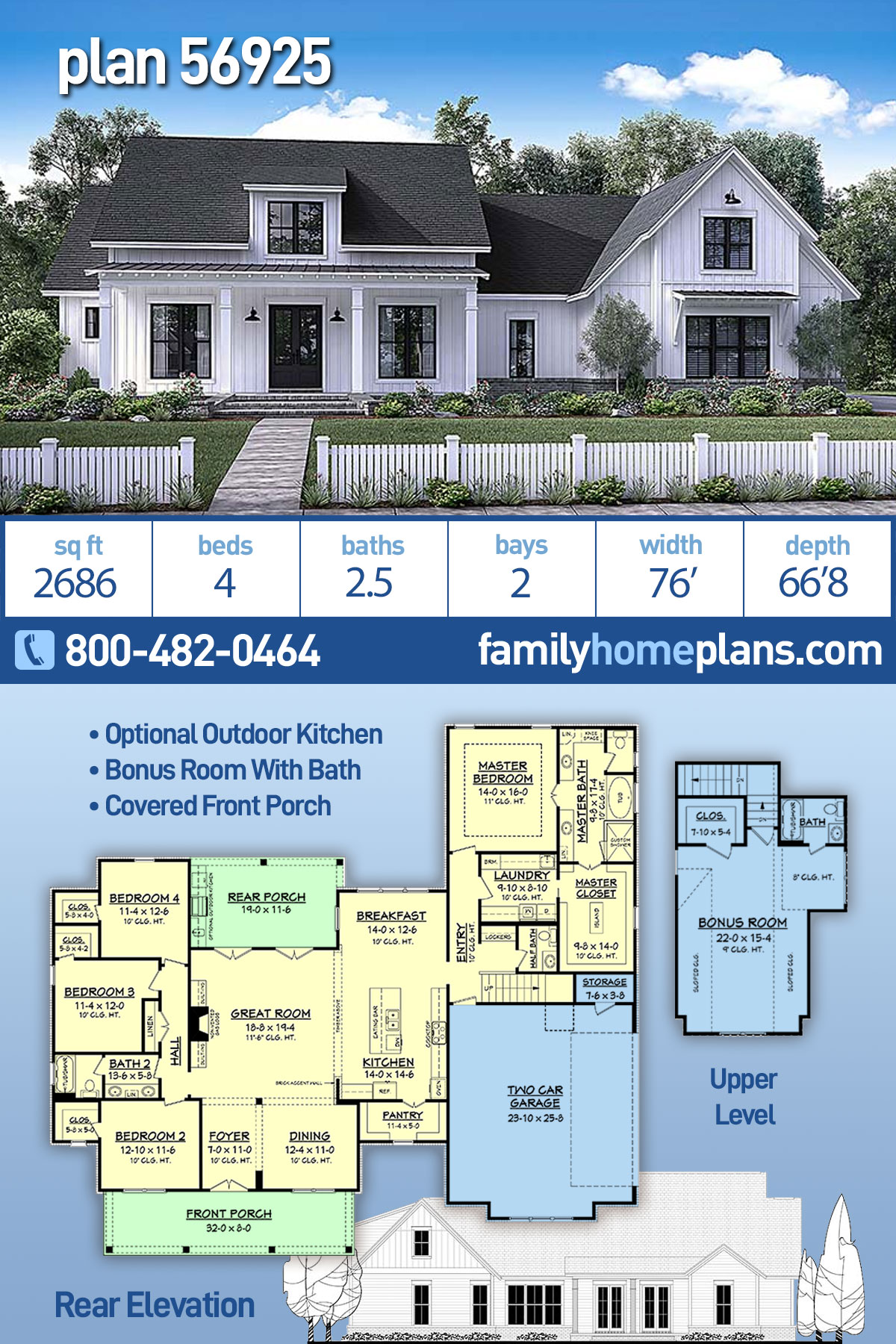 Country, Farmhouse, Southern House Plan 56925 with 4 Beds, 3 Baths, 2 Car Garage
