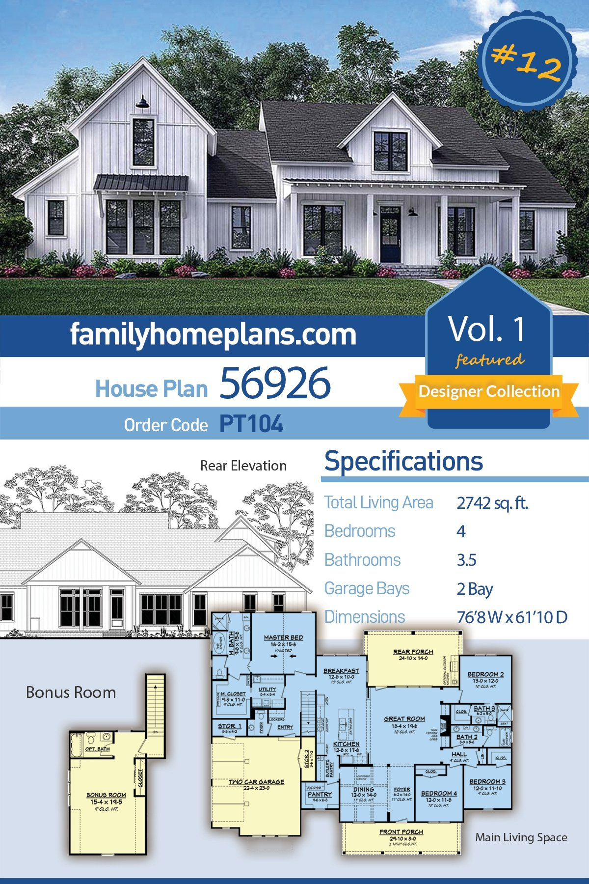 Cottage , Country , Farmhouse , Southern House Plan 56926 with 4 Beds, 4 Baths, 2 Car Garage