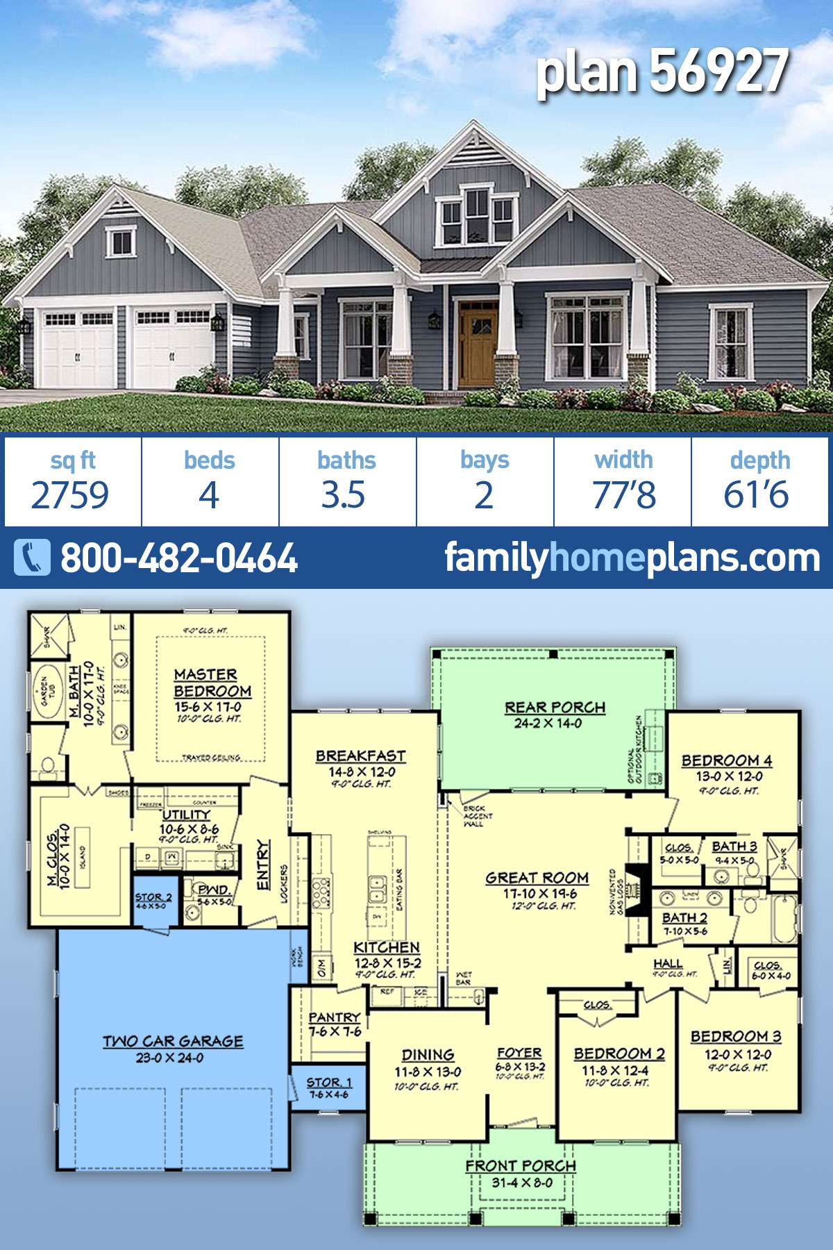 Country, Craftsman, Traditional House Plan 56927 with 4 Beds , 4 Baths , 2 Car Garage