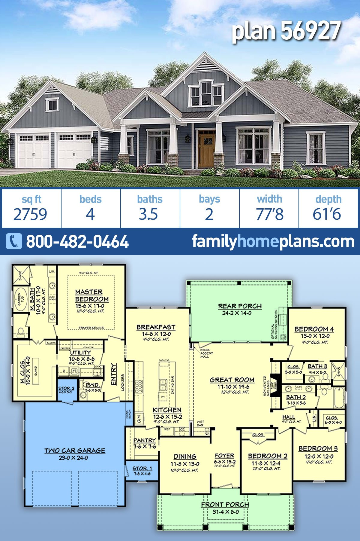 Country , Craftsman , Traditional House Plan 56927 with 4 Beds, 4 Baths, 2 Car Garage
